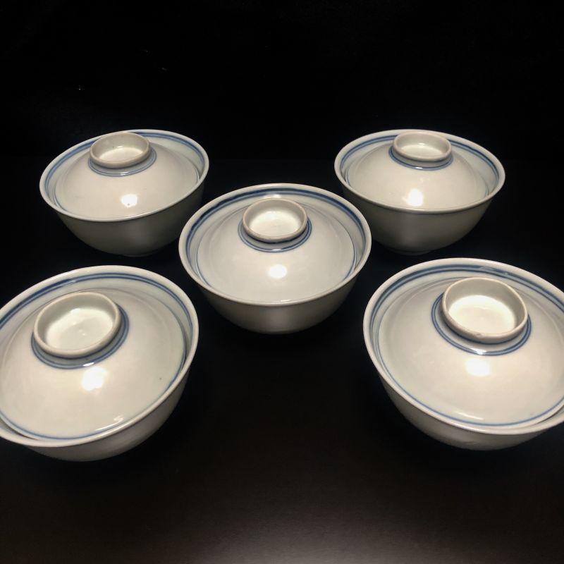 画像1: 染付輪線白磁蓋茶碗 5客 (1)